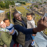Family at the top of Elgin Cathedral