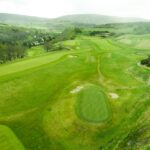 Drone shot of top of the Ballindalloch castle gold course