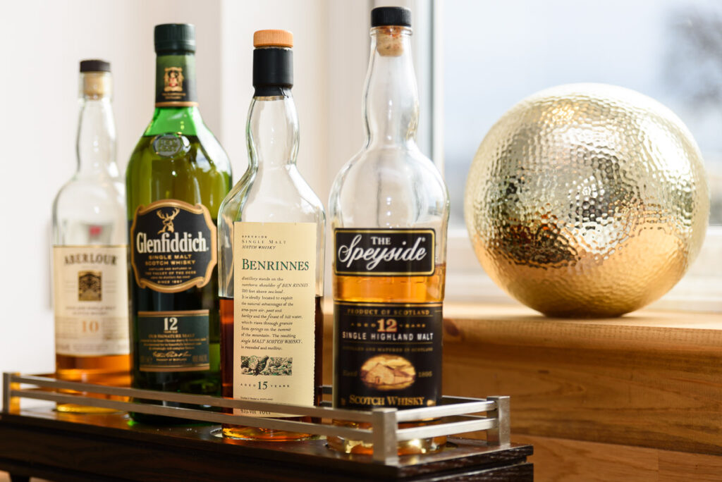 Picture of a range of Speyside whiskies