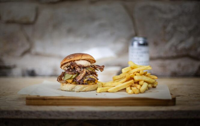 Picture of burger and chips at Badenochs