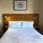Double bed at Stotfield Hotel